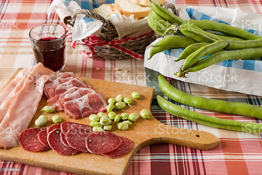 Cold meats broad bean and red wine stock photo