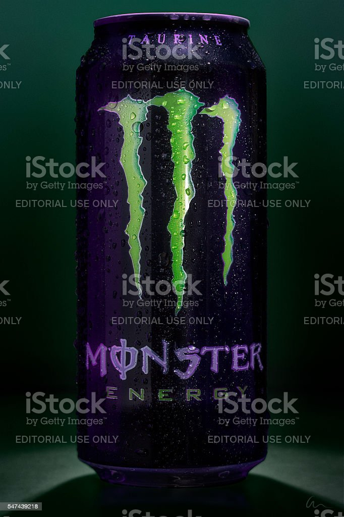 Cold Monster Energy Drink - Condensation stock photo