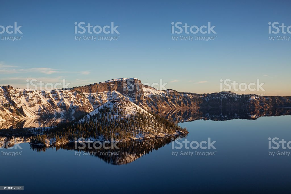 Cold Morning Crater Lake stock photo