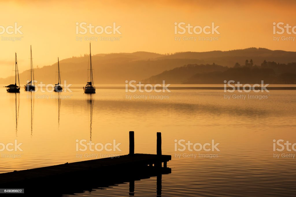 Cold Morning on the Lake Windermere stock photo