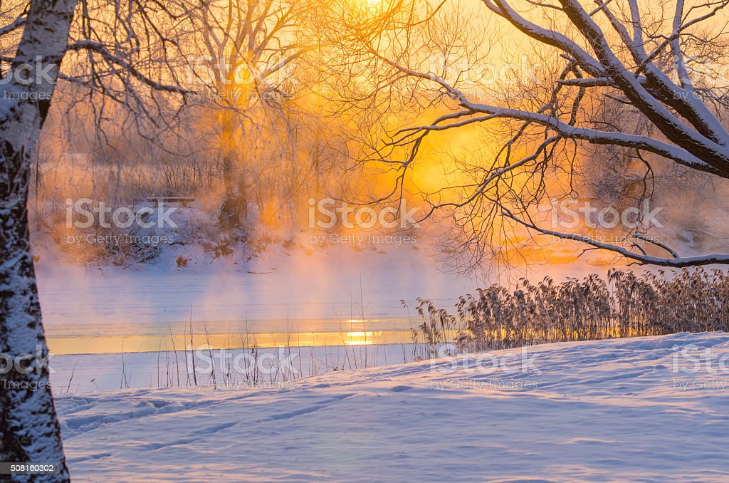 cold morning on the river stock photo