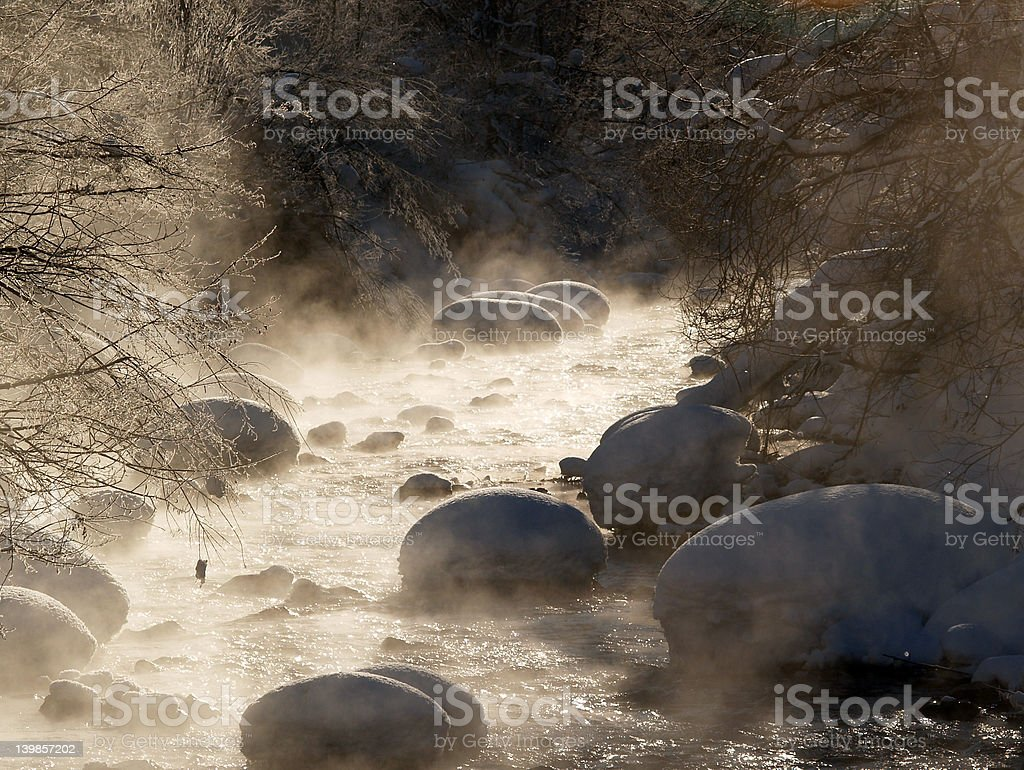 Cold morning river stock photo