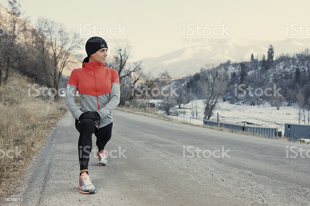 Cold Morning Stretch royalty-free stock photo