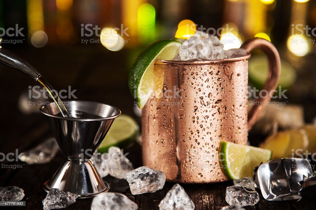 Cold Moscow Mule - Ginger Beer, lime and Vodka stock photo