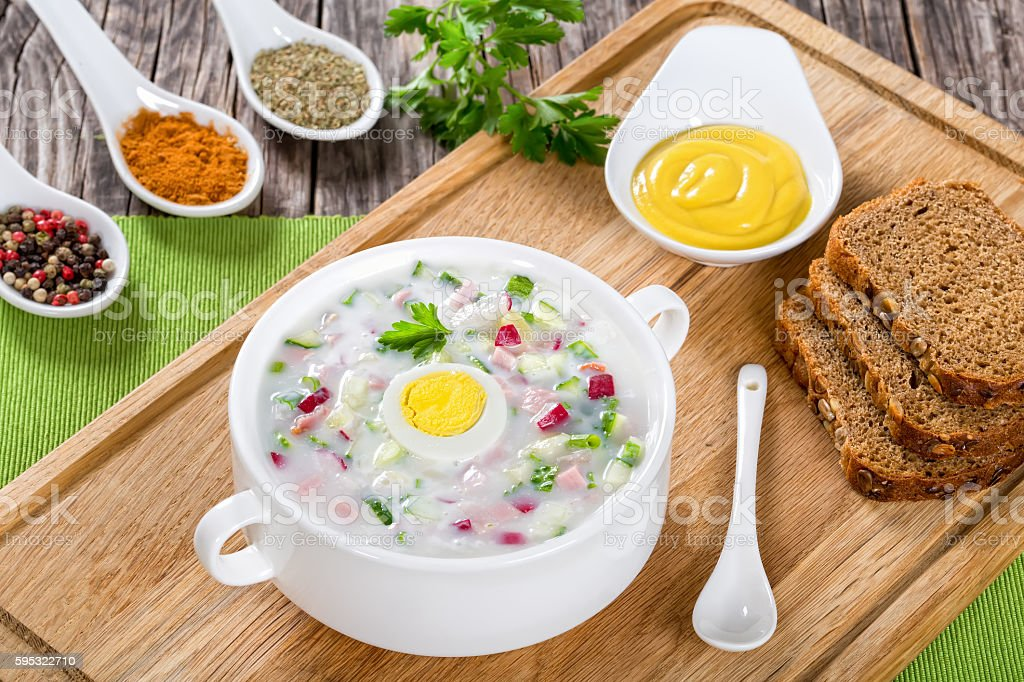 cold No-Cook soup with greek yogurt and vegetables stock photo
