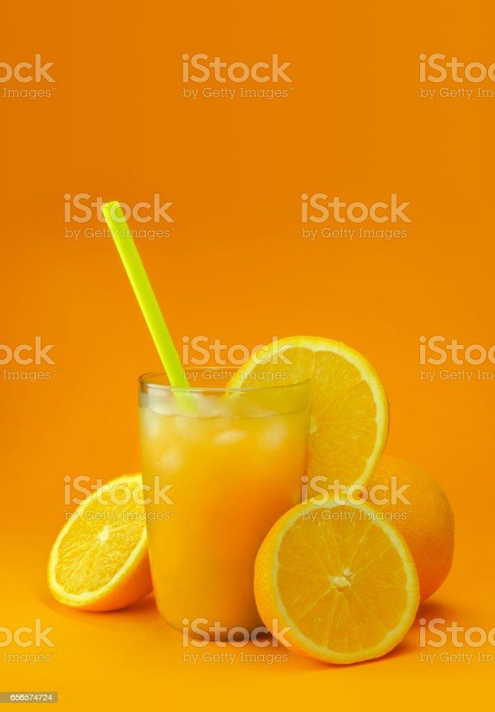 Cold Orange Juice with Ice stock photo