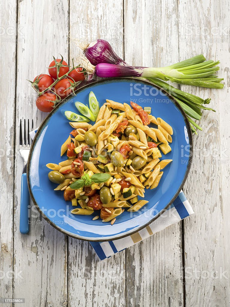 cold pasta salad with pachino royalty-free stock photo