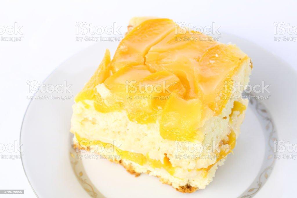 Cold Peach Cake stock photo