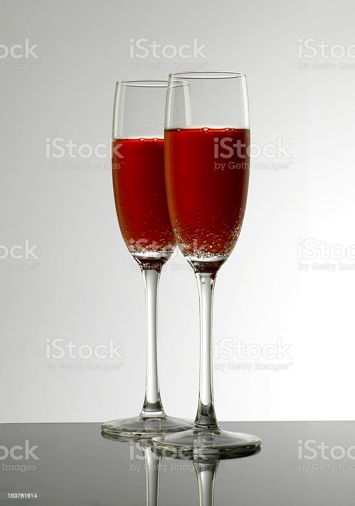 Cold, pink bubbly for two royalty-free stock photo