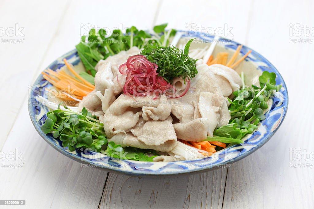 cold pork salad, japanese summer cuisine stock photo