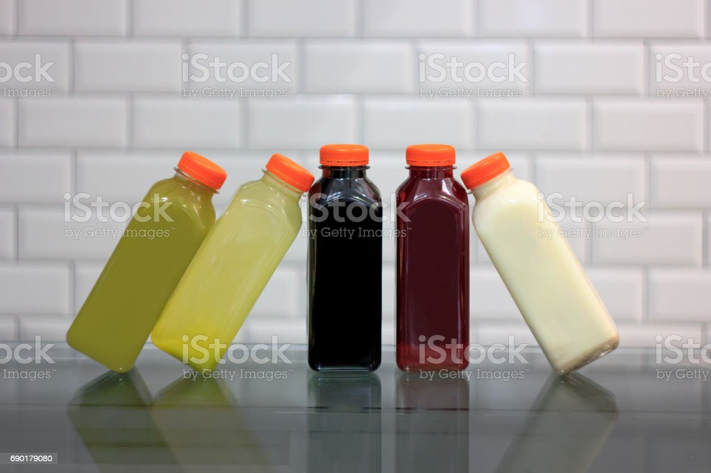 Cold press juices stock photo