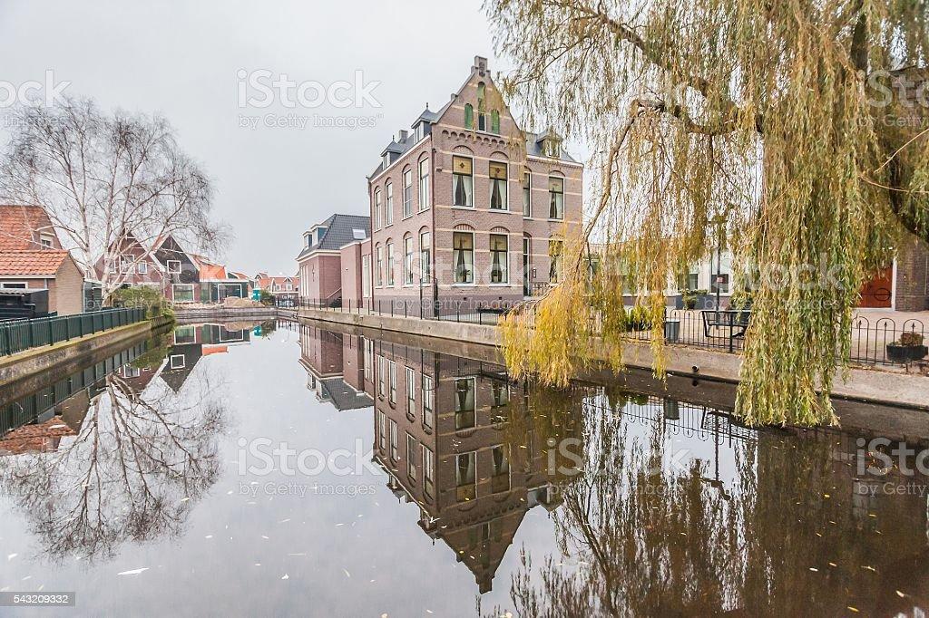 Cold raining wet winter in Volendam stock photo