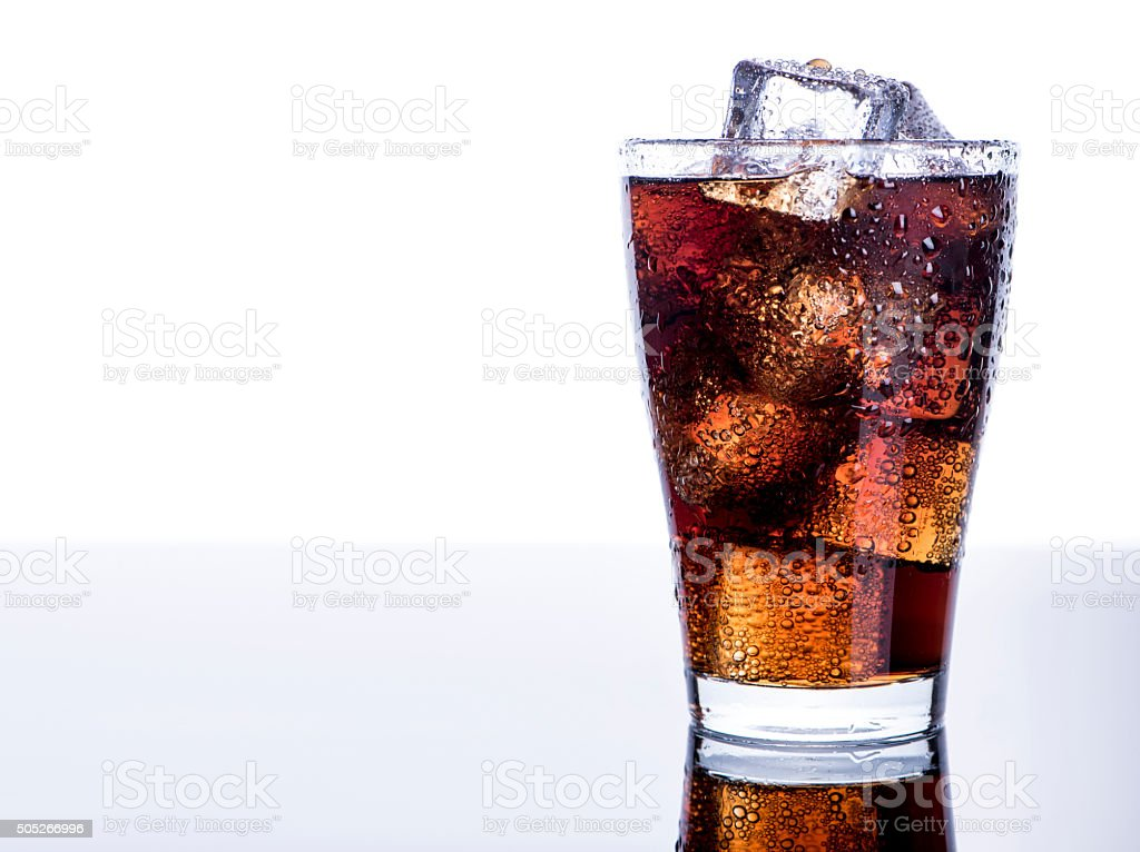 Cold refreshing soft drink with ice stock photo