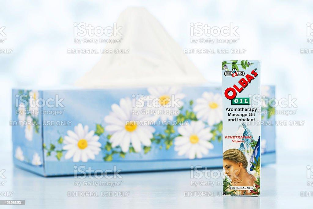 Cold Relief: Olbas Oil and Tissues stock photo