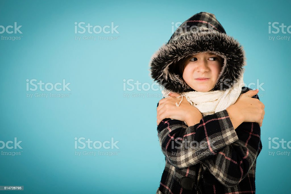 Cold, Sad Little Girl, With Copy Space stock photo