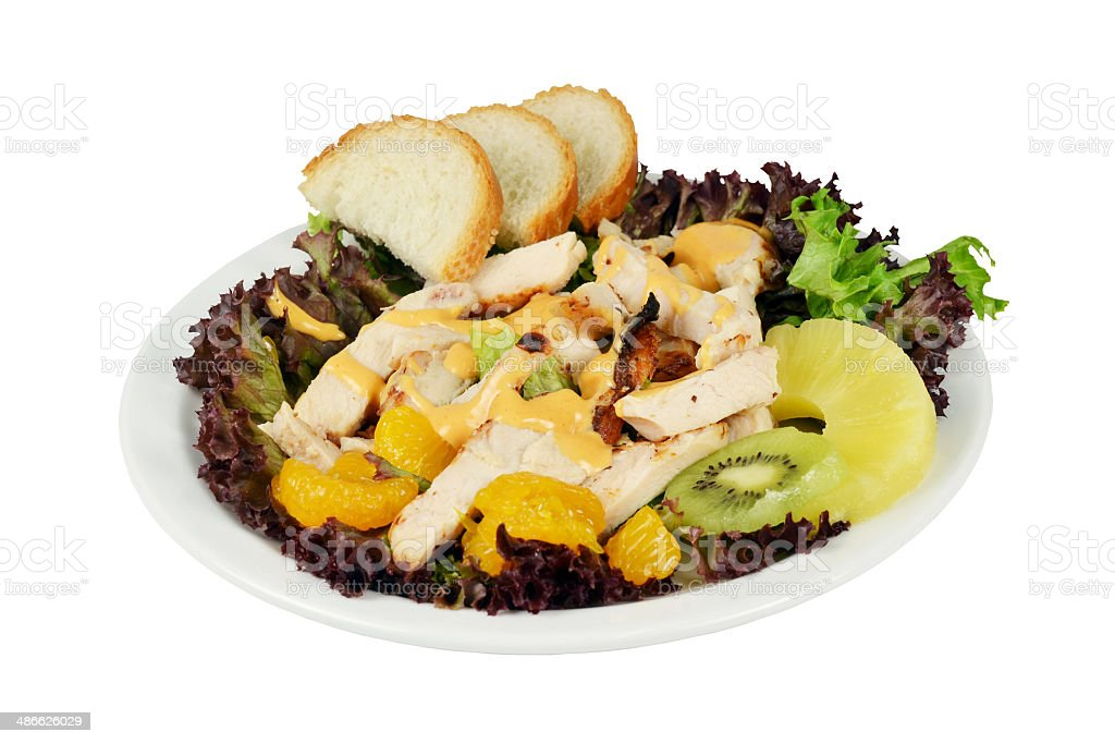 Cold salad with smoked chicken. stock photo