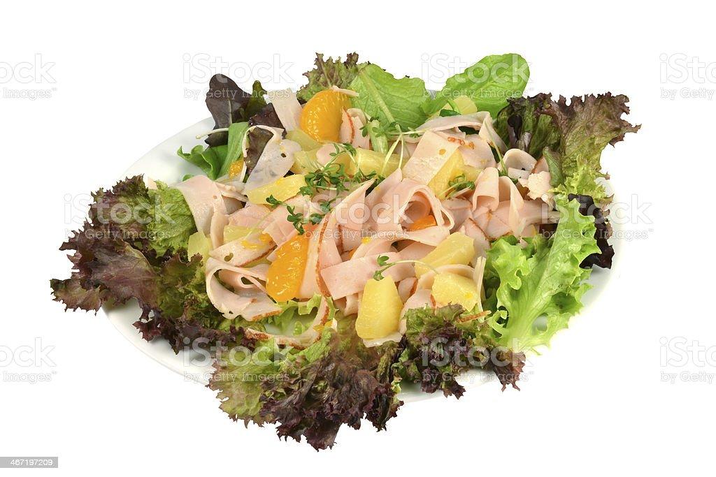 冷製サラダ、トルコストリップとフルーツをお楽しみいただけます。 ロイヤリティフリーストックフォト
