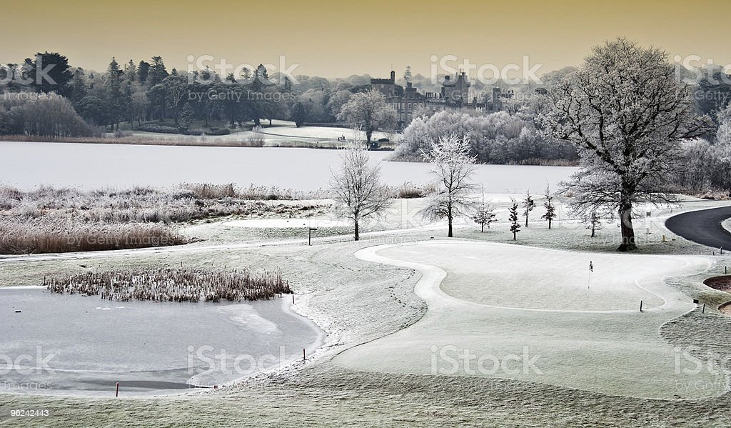 cold scenic landscape lake with castle in distance, ireland royalty-free stock photo