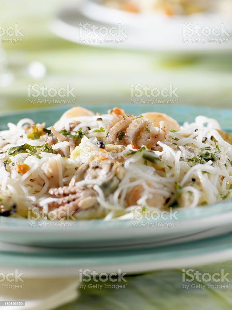 Cold Seafood Salad with Rice Noodles royalty-free stock photo