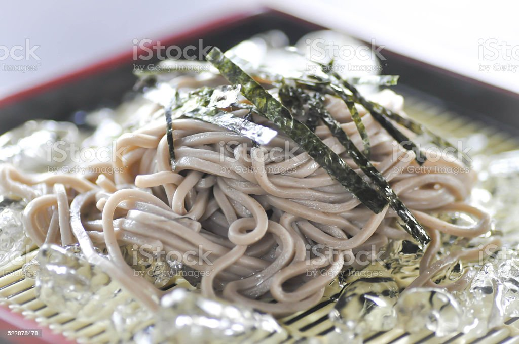 cold soba or cold noodle stock photo