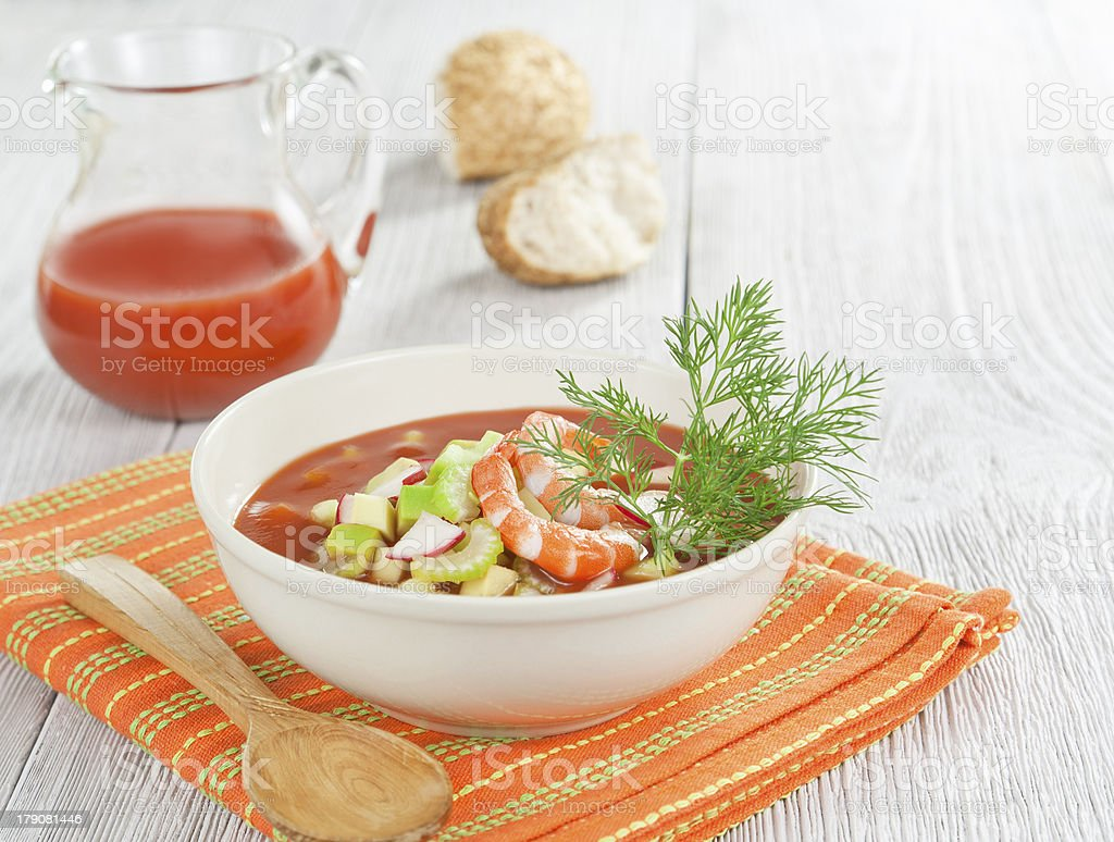 Cold soup with shrimp, vegetables and tomato juice royalty-free stock photo