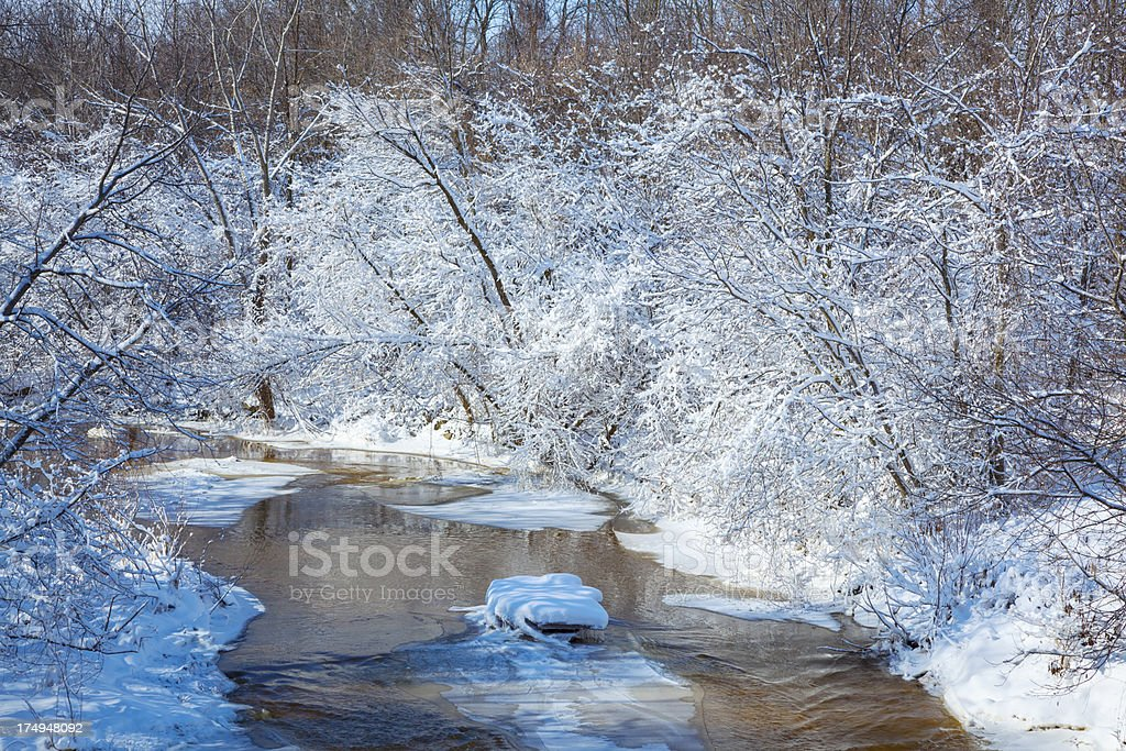 Cold Stream Flows Through Frosty Snow Covered Forest royalty-free stock photo