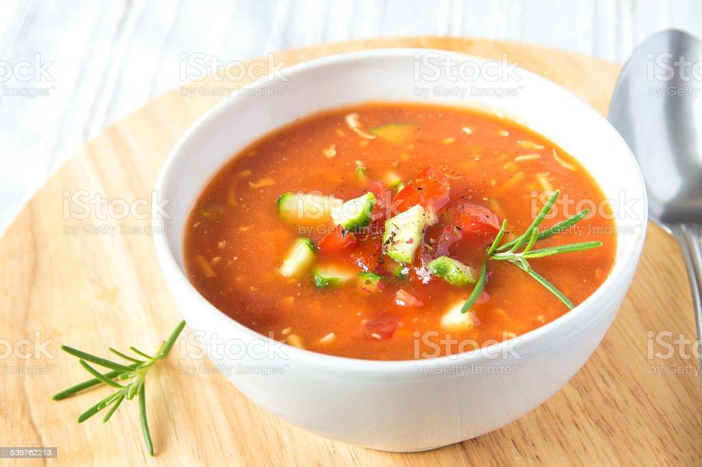 cold tomato soup gazpacho stock photo