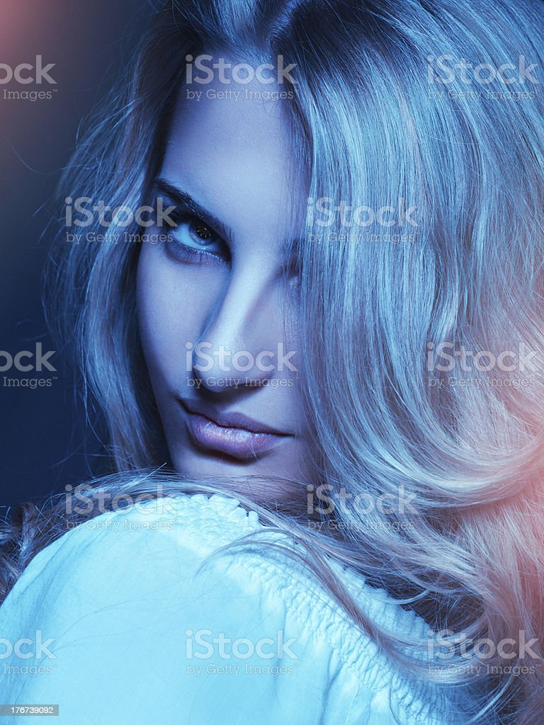 Cold tones portrait of pretty young woman royalty-free stock photo