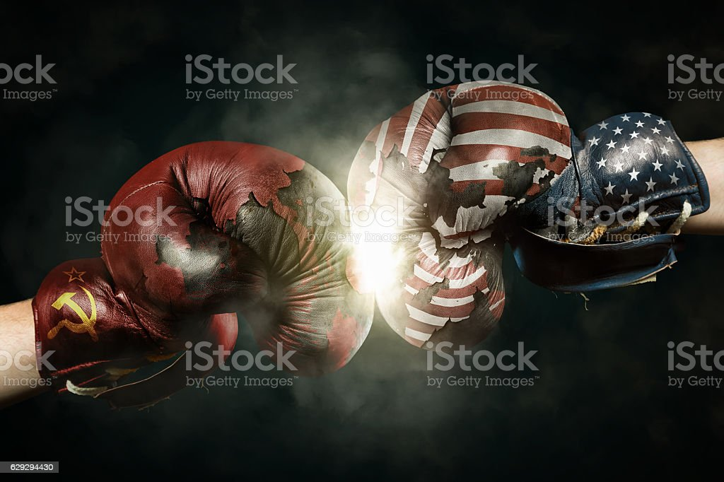 Cold War between USA and Russia symbolized with Boxing Gloves stock photo