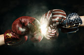 Cold War between USA and Russia symbolized with Boxing Gloves