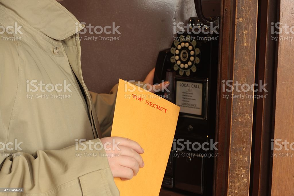 Cold War Spy - Top Secret Phone Call royalty-free stock photo