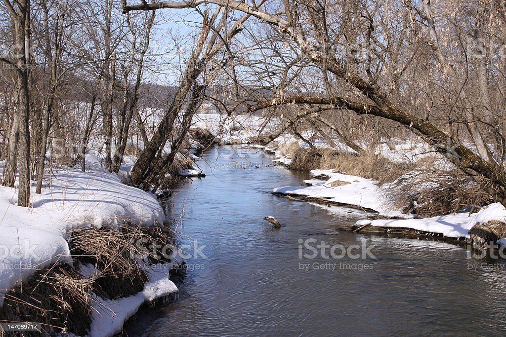 Cold Water Fishing Stream and Snowy Shoreline stock photo