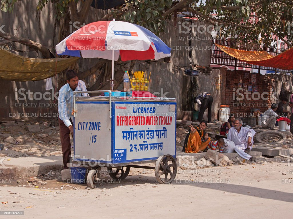 Cold water for sale on a hot day in Delhi stock photo