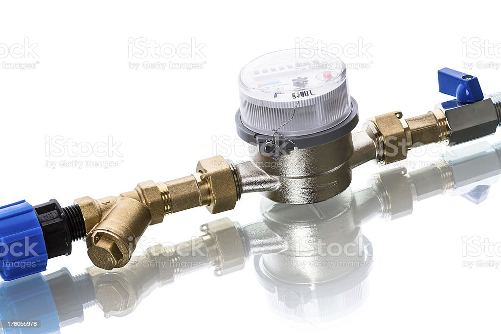Cold water meters  on white stock photo