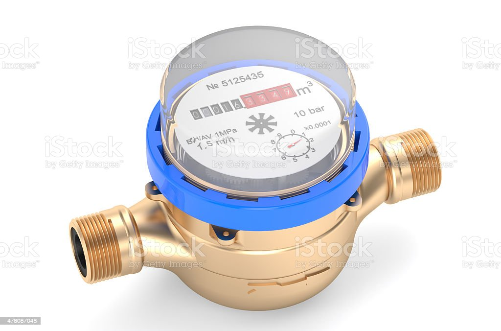 cold water meters stock photo