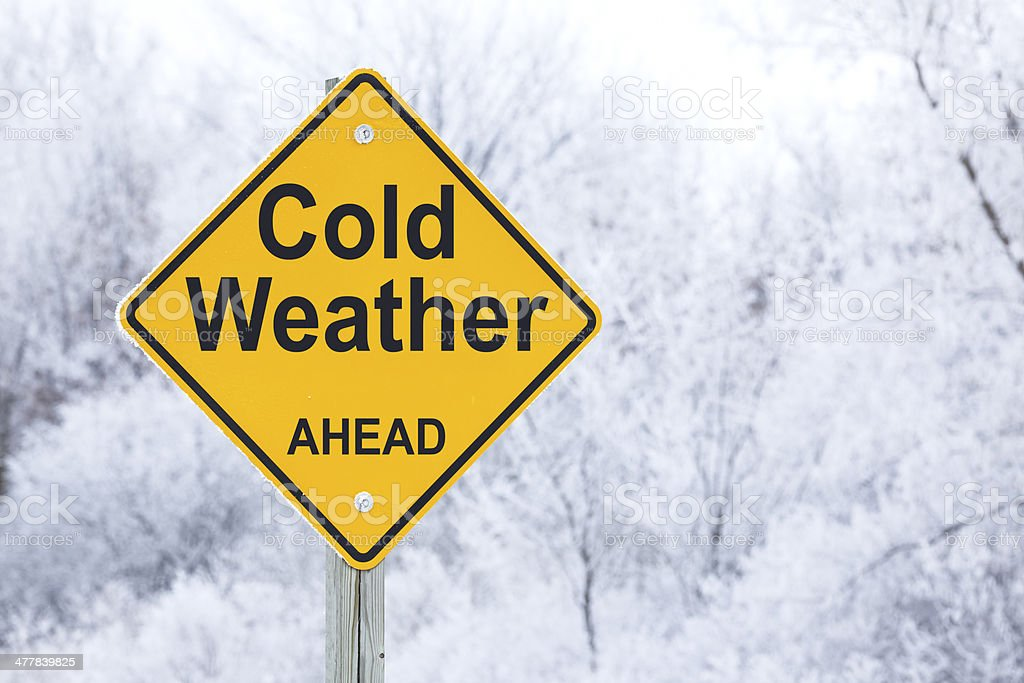 Cold Weather Ahead Road Warning Sign stock photo