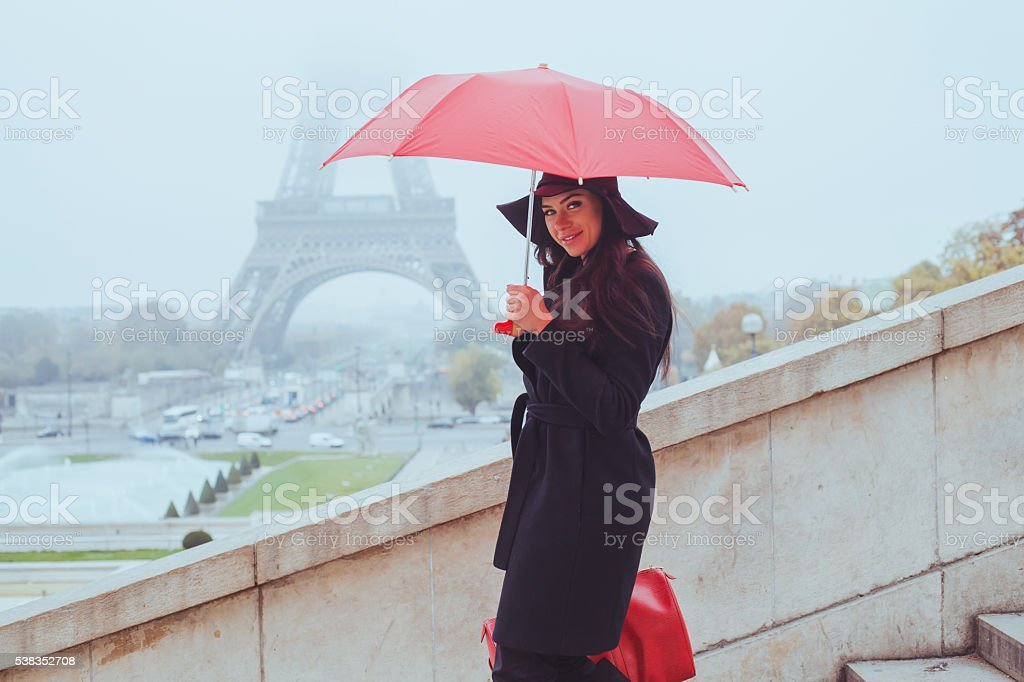 cold weather in Paris, fashion woman with red umbrella stock photo