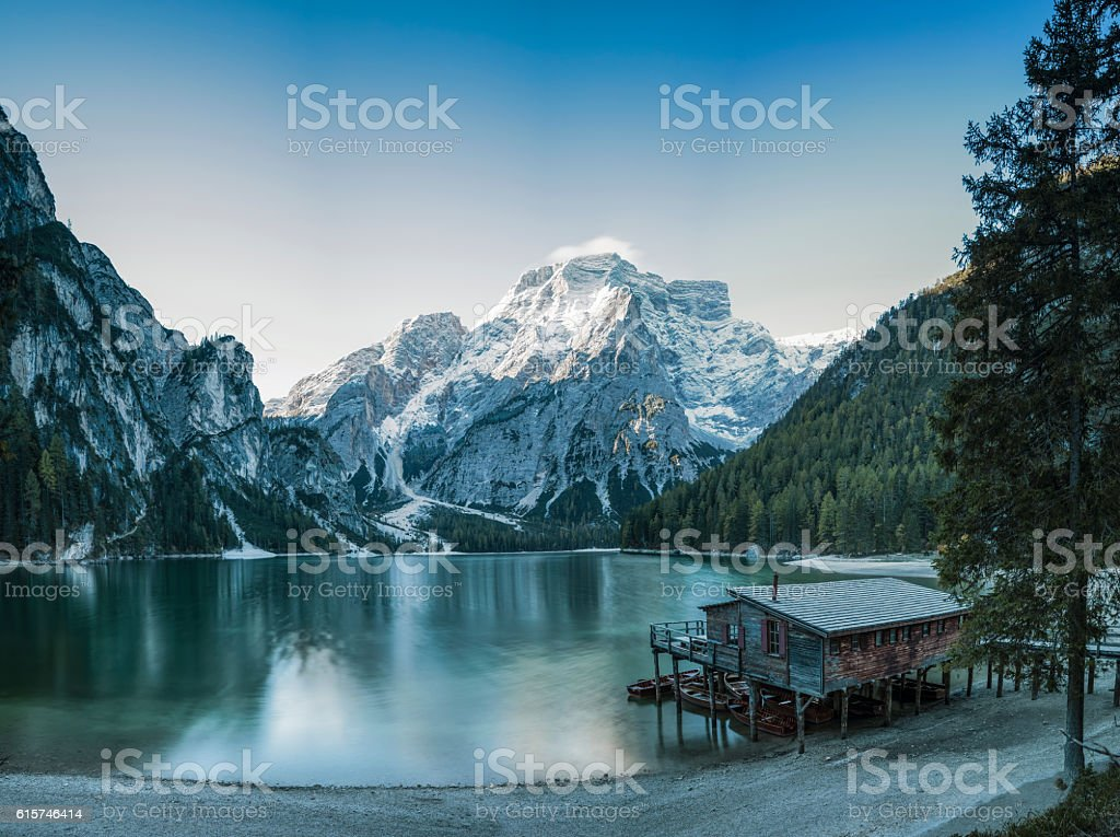 Cold Winter Morning at UNESCO World Heritage Lake Braies stock photo
