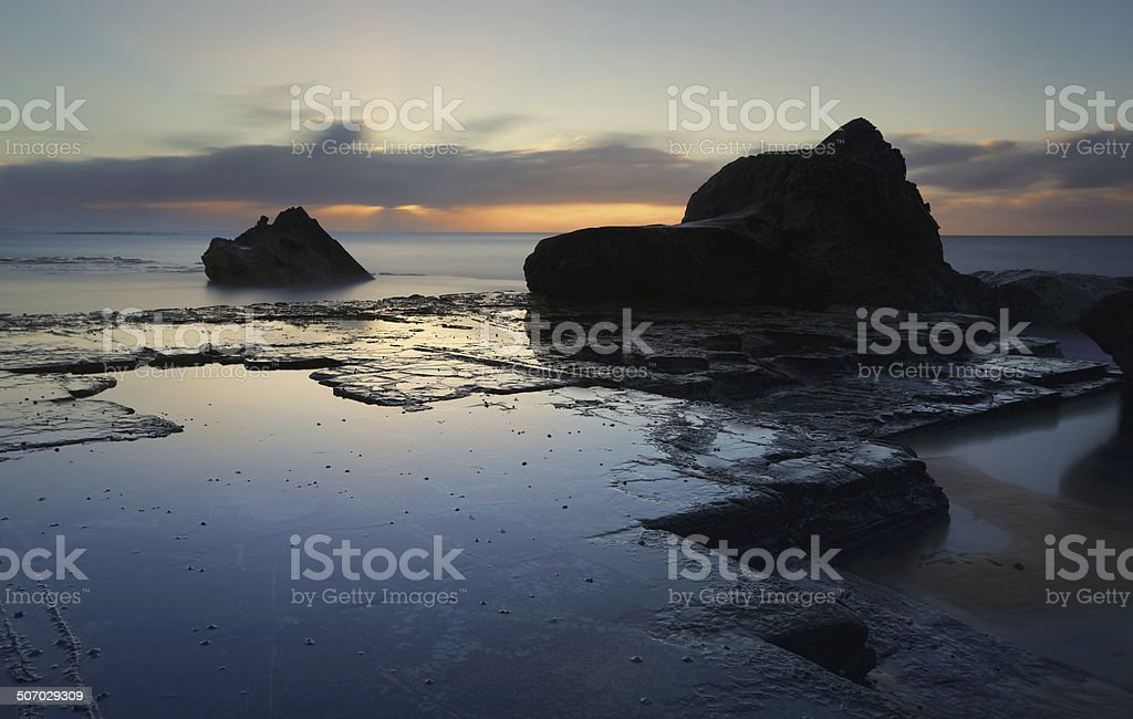 Cold winter morning seaside coast royalty-free stock photo