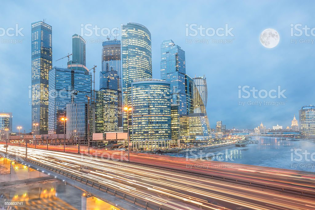 Cold winter morning view of the road and business city stock photo