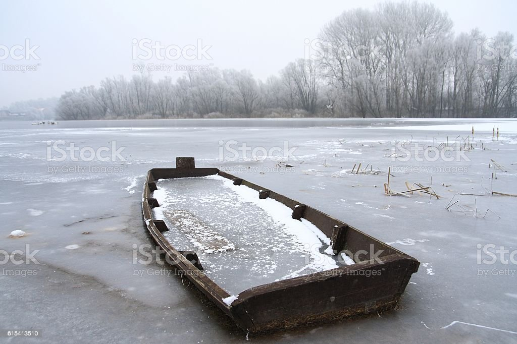 Cold winter on lake stock photo