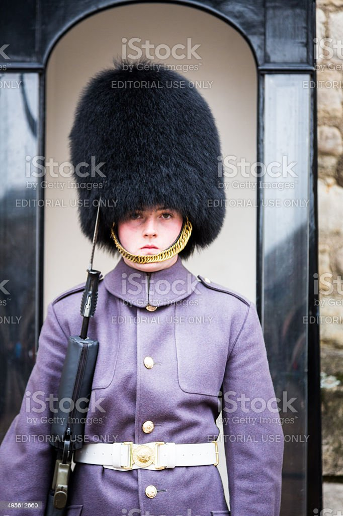 Coldstream Guard at the Tower of London, England stock photo