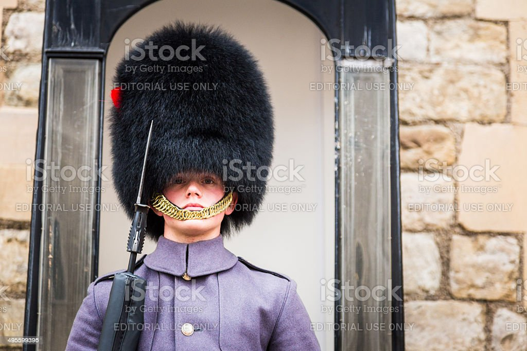 Coldstream Guard at Tower of London, England stock photo