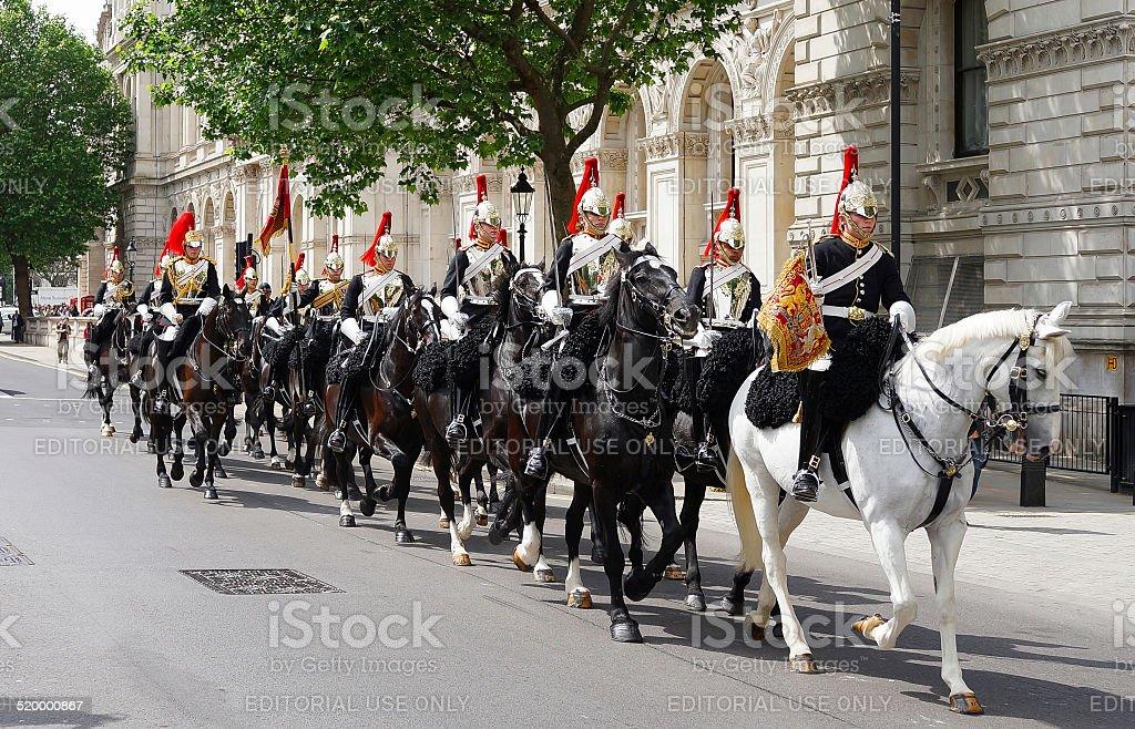 Coldstream Guards on horseback, London, UK stock photo