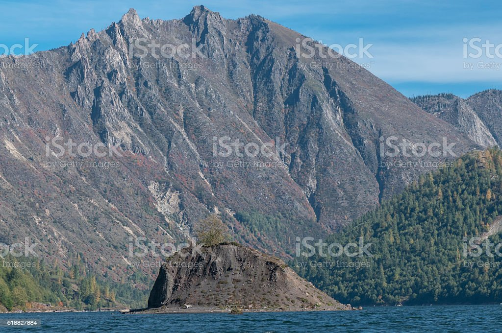 Coldwater Lake Washington State with Rock Island from Boat stock photo