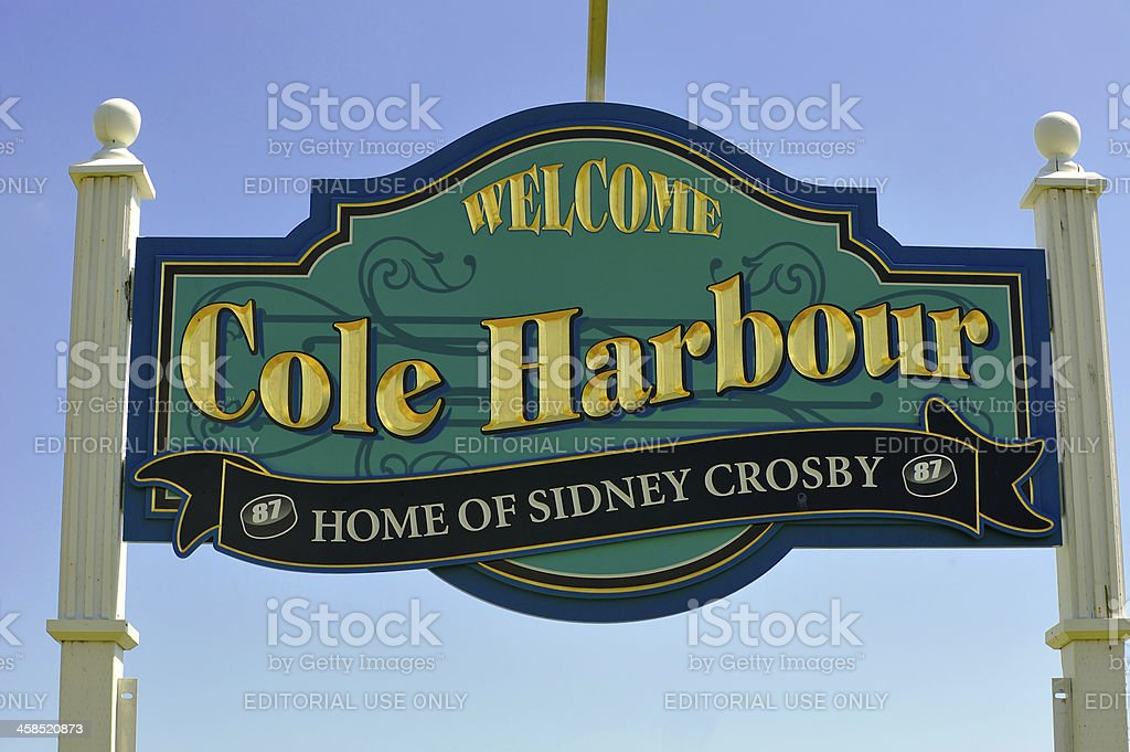 Cole Harbour sign, proud of their superstar stock photo