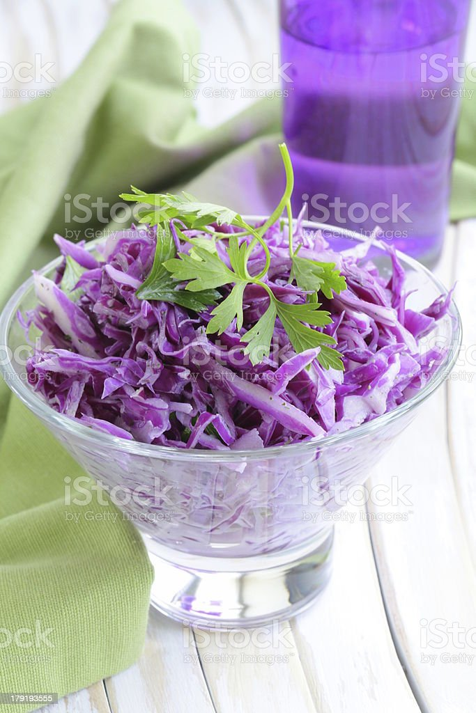 coleslaw salad of red cabbage with parsley and mayonnaise royalty-free stock photo