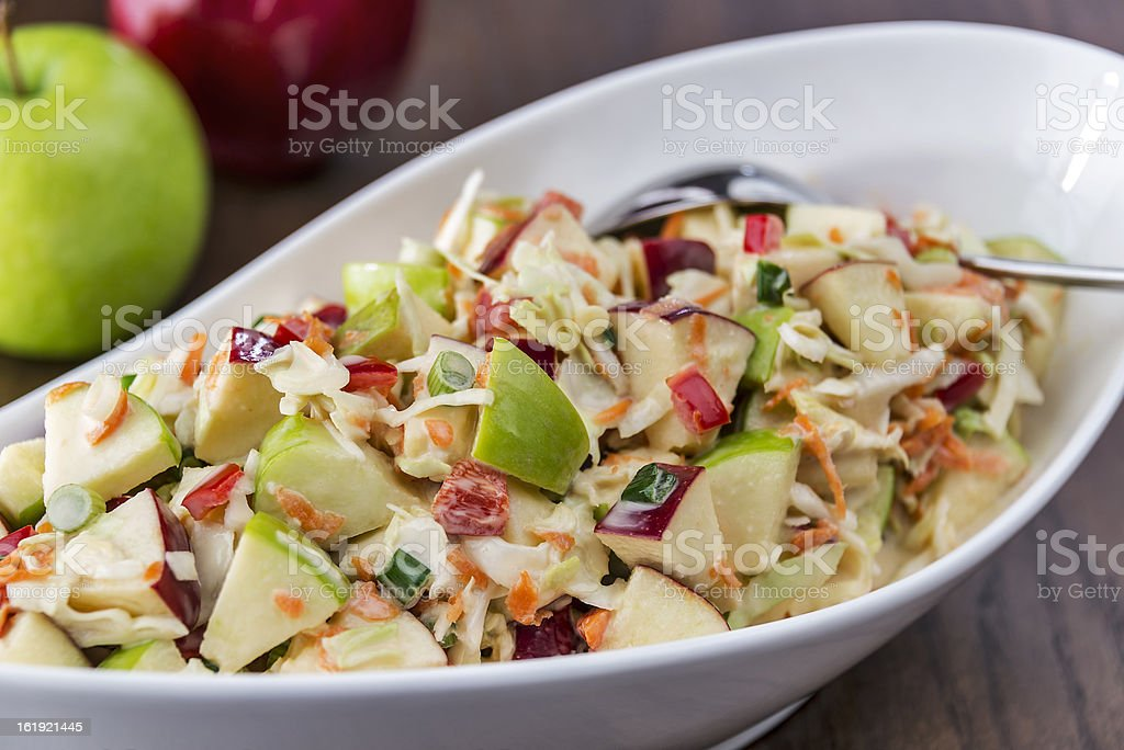 Coleslaw with green and red apples stock photo