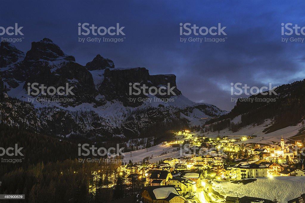 Colfosco in Badia, night landscape stock photo