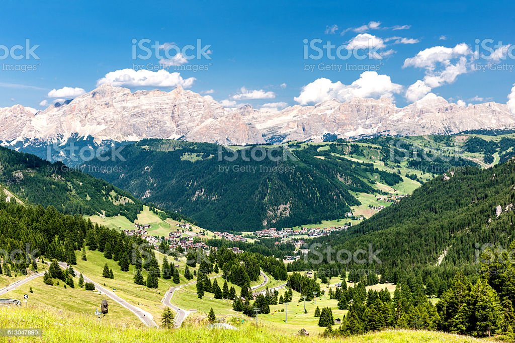 Colfosco village, Italy, Dolomites, Europe stock photo